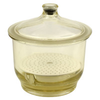 Pyrex - Undetermined | Pyrex Desiccator, Glass, Clear, ID 250mm, with 9 Inch Dia Ceramic Plate
