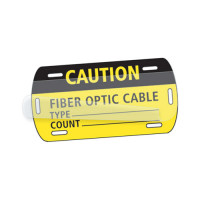 Fiber Optic Cable CAUTION Tag, 2in x 3.5in, Self-Laminating Test & Inspection