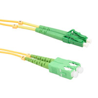 FiberTool Duplex SM LCAPC to SCAPC Patch Cable Fiber Optic Jumper, 2 Meter Singlemode 9/125 OS2