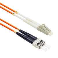FiberTool - DX-MM-LC-ST-62-5M | FiberTool Duplex MM LC to ST Patch Cable 62.5/125 Fiber Optic Jumper, 5 Meter