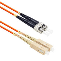 FiberTool Duplex MM SC to ST Patch Cable 62.5/125 Fiber Optic Jumper, 1 Meter Patch Cable Multimode
