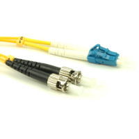 FiberTool - DX-SM-LC-ST-5M | FiberTool Duplex SM LC to ST Patch Cable Fiber Optic Jumper, 5 Meter