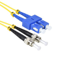 FiberTool Duplex SM SC to ST Patch Cable Fiber Optic Jumper, 1 Meter Singlemode 9/125 OS2