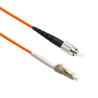 FiberTool Simplex MM FC to LC Patch Cable 50/125 Fiber Optic Jumper, 1 Meter Multimode 50/125um OM2