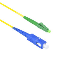 FiberTool Simplex SM LCAPC to SC Patch Cable Fiber Optic Jumper, 1 Meter Singlemode 9/125 OS1