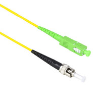 FiberTool Simplex SM SCAPC to ST Patch Cable Fiber Optic Jumper, 1 Meter Singlemode 9/125 OS1
