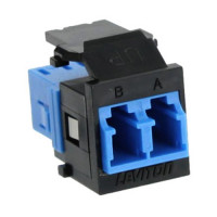 Leviton - 41085-SLE | Leviton QuickPort Fiber Optic Duplex LC Adapter, Single-mode, Blue 41085-SLE