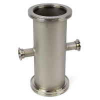 "MDC Stainless Steel 4-Way, Reducing Cross, 10"" x 3.8"" Gas, Liquid & Vacuum"